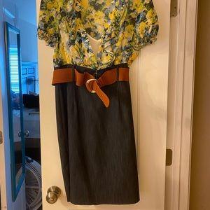 Two piece denim/ floral pencil skirt dress